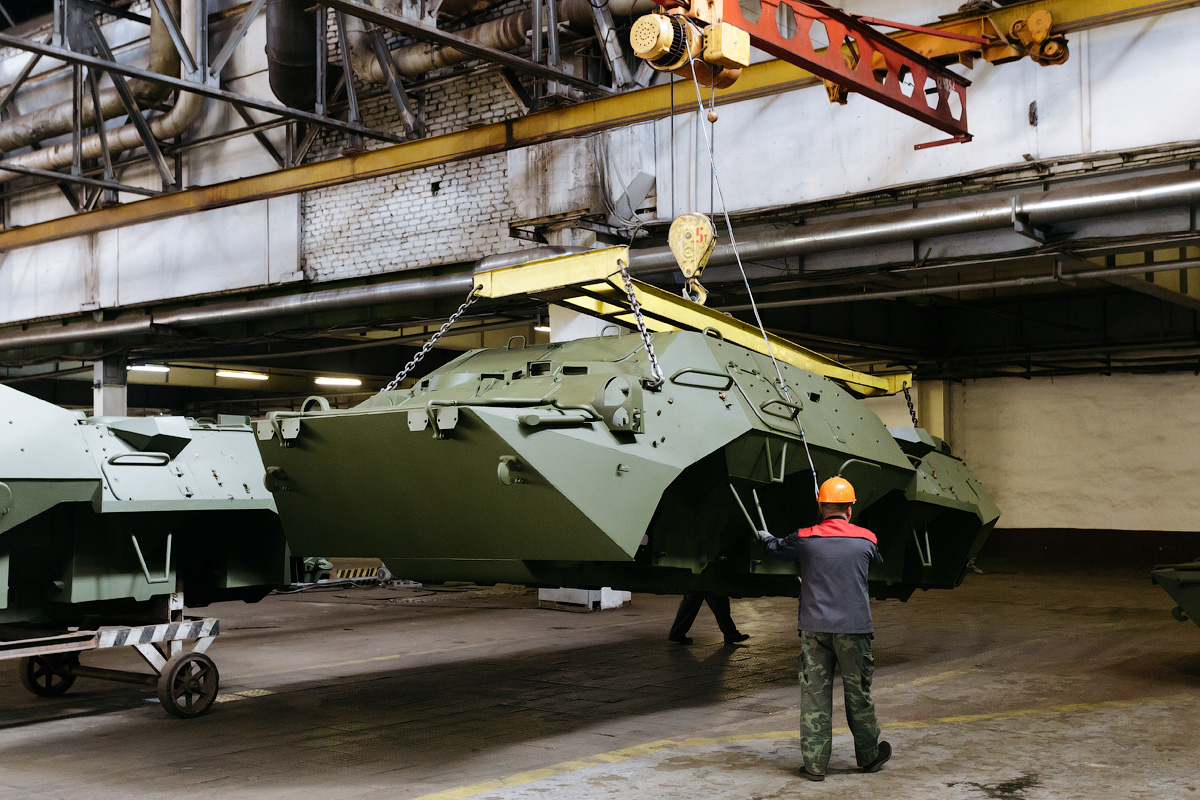 During the first step all wires are laid out inside the armored carrier.
