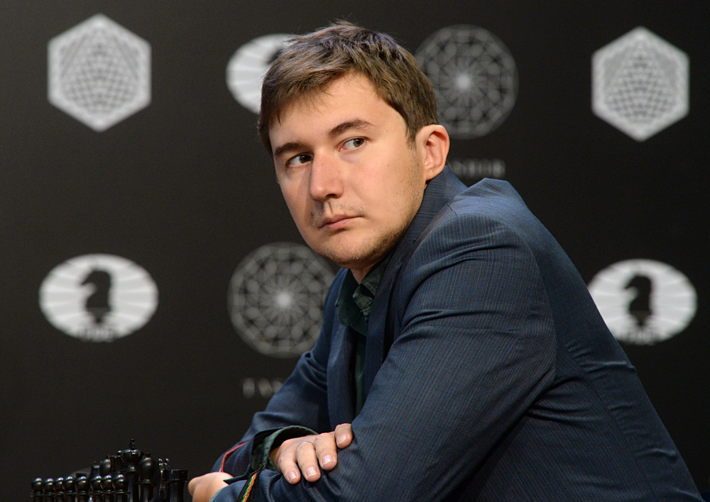 Grandmaster Sergei Karyakin (Russia) competes in the fifth round of the World Chess Candidates Tournament in Moscow.