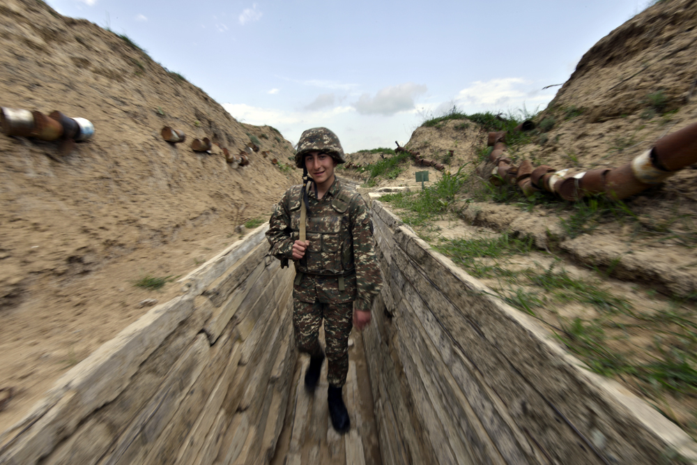A serviceman in the area of the Nagorno-Karabakh conflict, April 7, 2016.