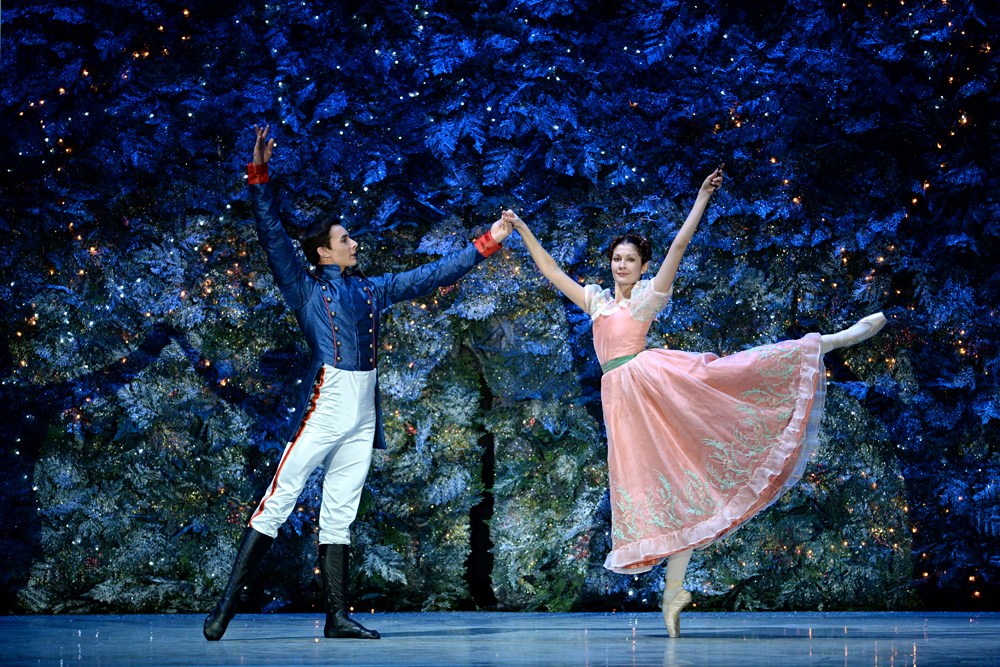 Natalya Yershova as Masha and Ivan Oskorbin as Nutcracker in a scene from Pyotr Tchaikovsky's The Nutcracker choreographed by Igor Zelensky for the Novosibirsk Opera and Ballet Theater.