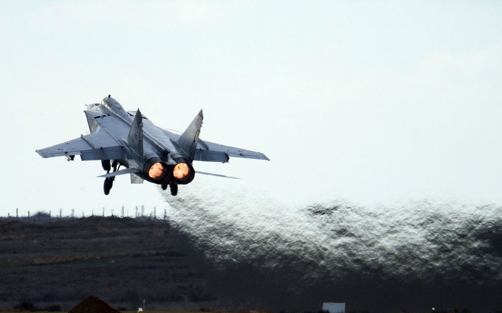 A Mikoyan MiG-31 interceptor aircraft.