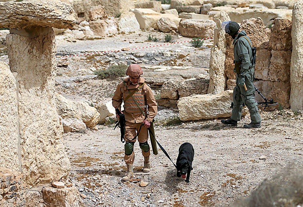 Russian combat engineers arrived in Syria on a mission to clear mines in Palmyra, which has been recaptured from Islamic State militants in an offensive that has proven Russia's military might in Syria despite a drawdown of its warplanes.