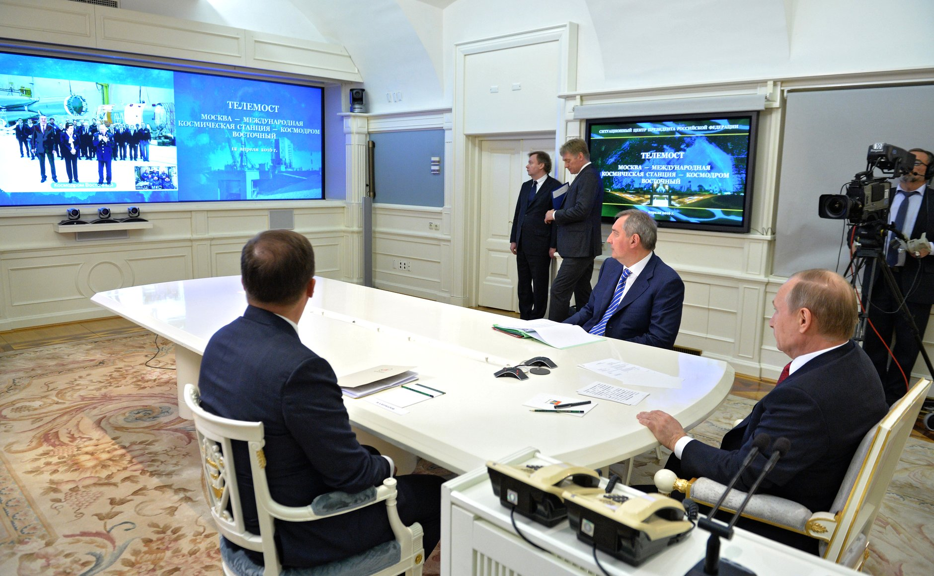 Russian President Vladimir Putin held a live session with the Vostochny Cosmodrome, April 12, 2016.