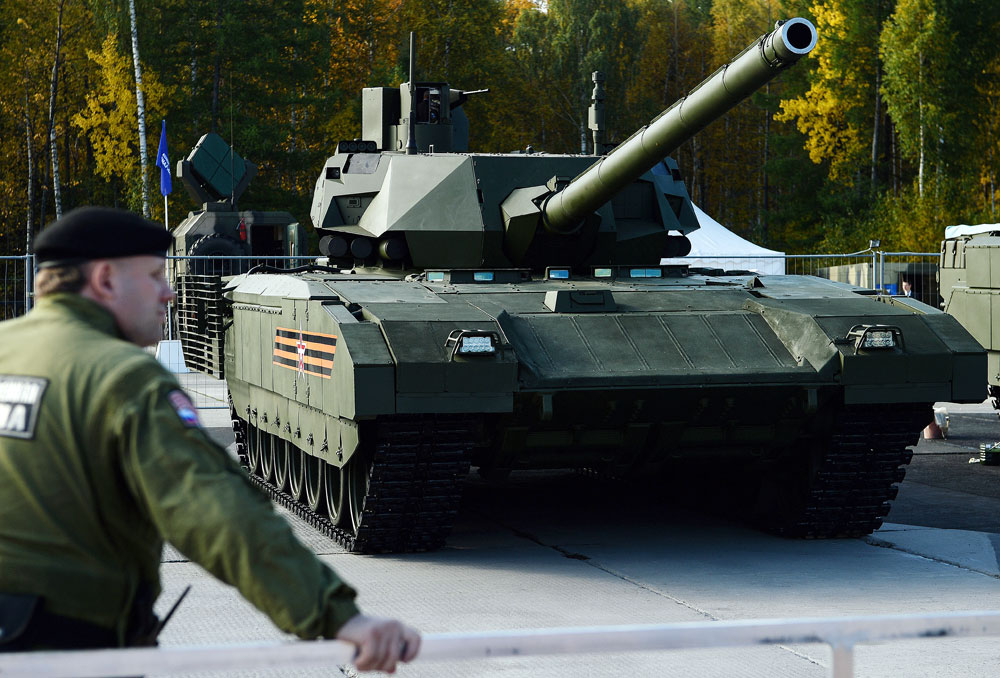 "A T-14 Armata main battle tank on display at the ""Russia Arms Expo 2015"" in Nizhny Tagil."