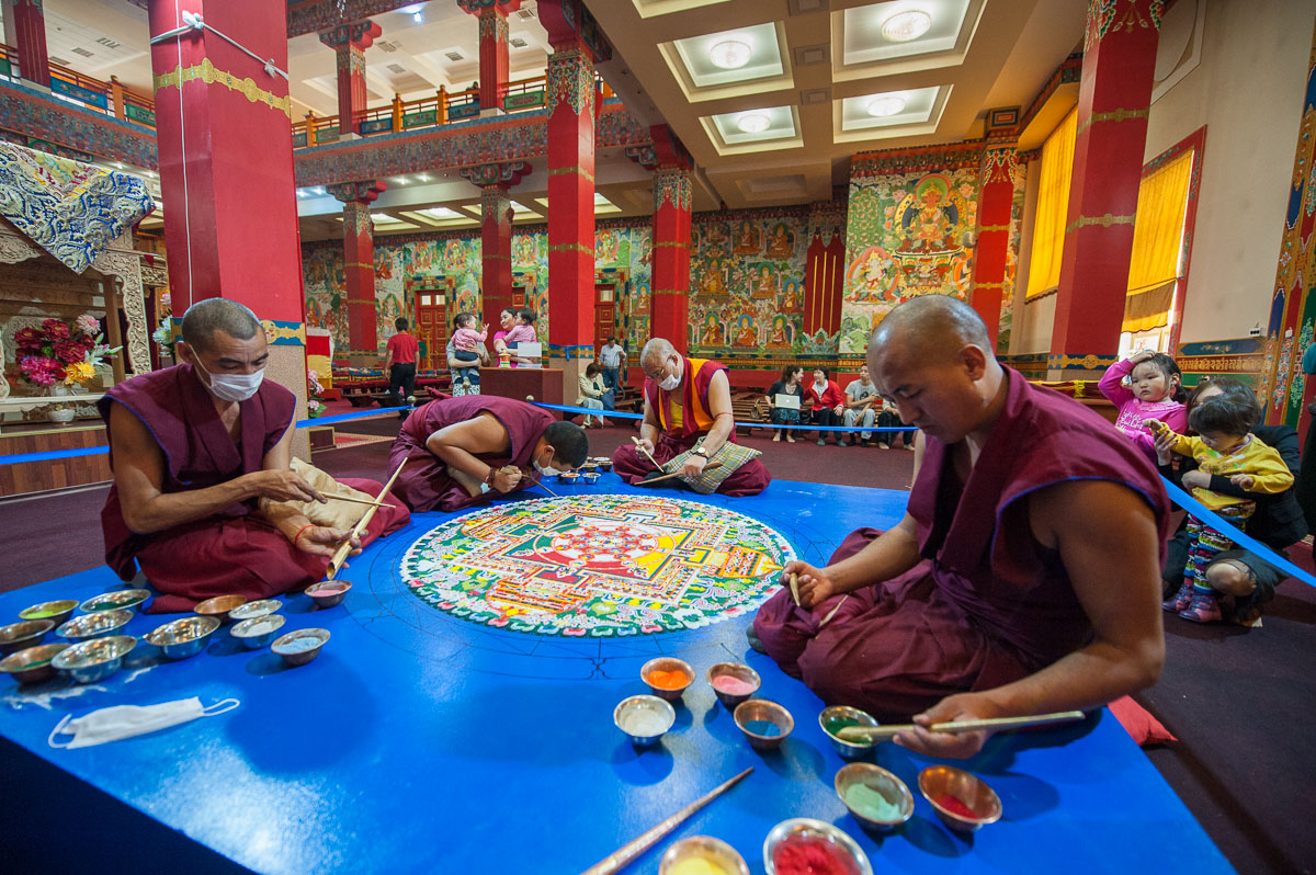 Buddhist monks from Tibet have been creating mandalas in the Burkhan Bakshin Altan Sume.