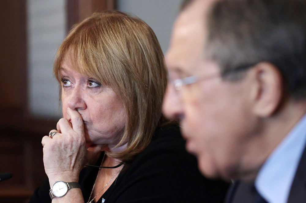 Susana Malcorra junto a Serguéi Lavrov en la rueda del prensa tras el encuentro.