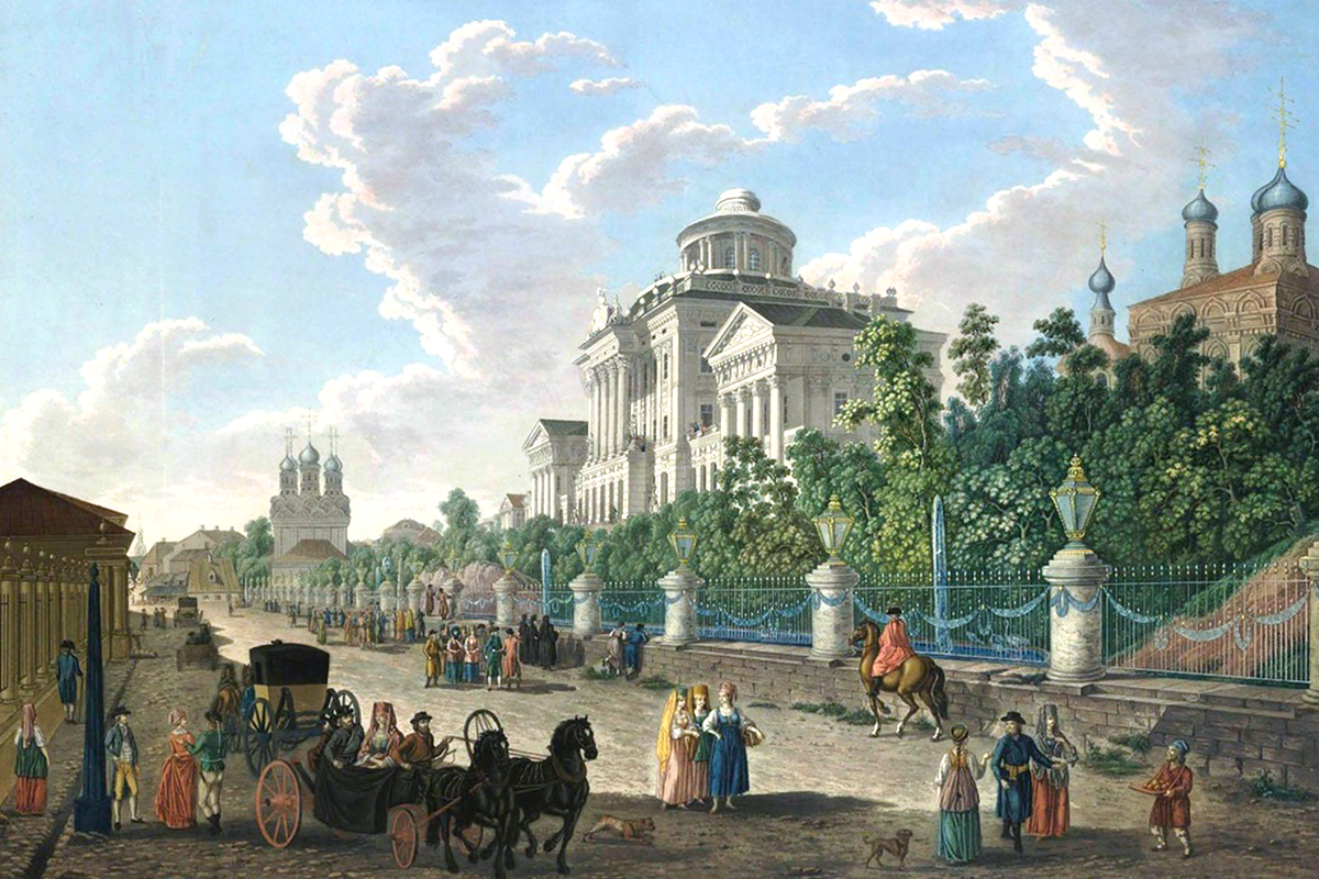 This series of watercolor images depicts Moscow at the end of 18th century during the rule of Tsar Paul I. /Pictured: the view on  Mokhovaya Street and the Pashkov House. The street retained its name and the house still stands. It was built here in the Classical style for Muscovite nobleman Pyotr Pashkov.