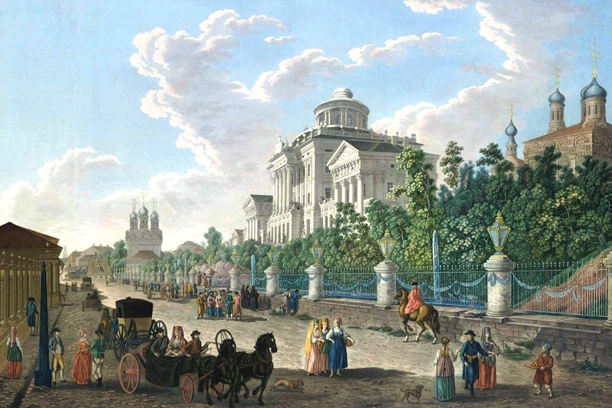 Diese Serie von Aquarell-Bildern zeigt Moskau im Ende des 18. Jahrhunderts während der Herrschaft von Zar Paul dem Ersten. / Abgebildet: Blick auf die Mokhovaya Straße und das Pashkov-Haus. Die Straße hat ihren Namen behalten, auch das Haus steht noch. Es wurde im klassischen Stil für den Adligen Pjotr Pashkov gebaut.