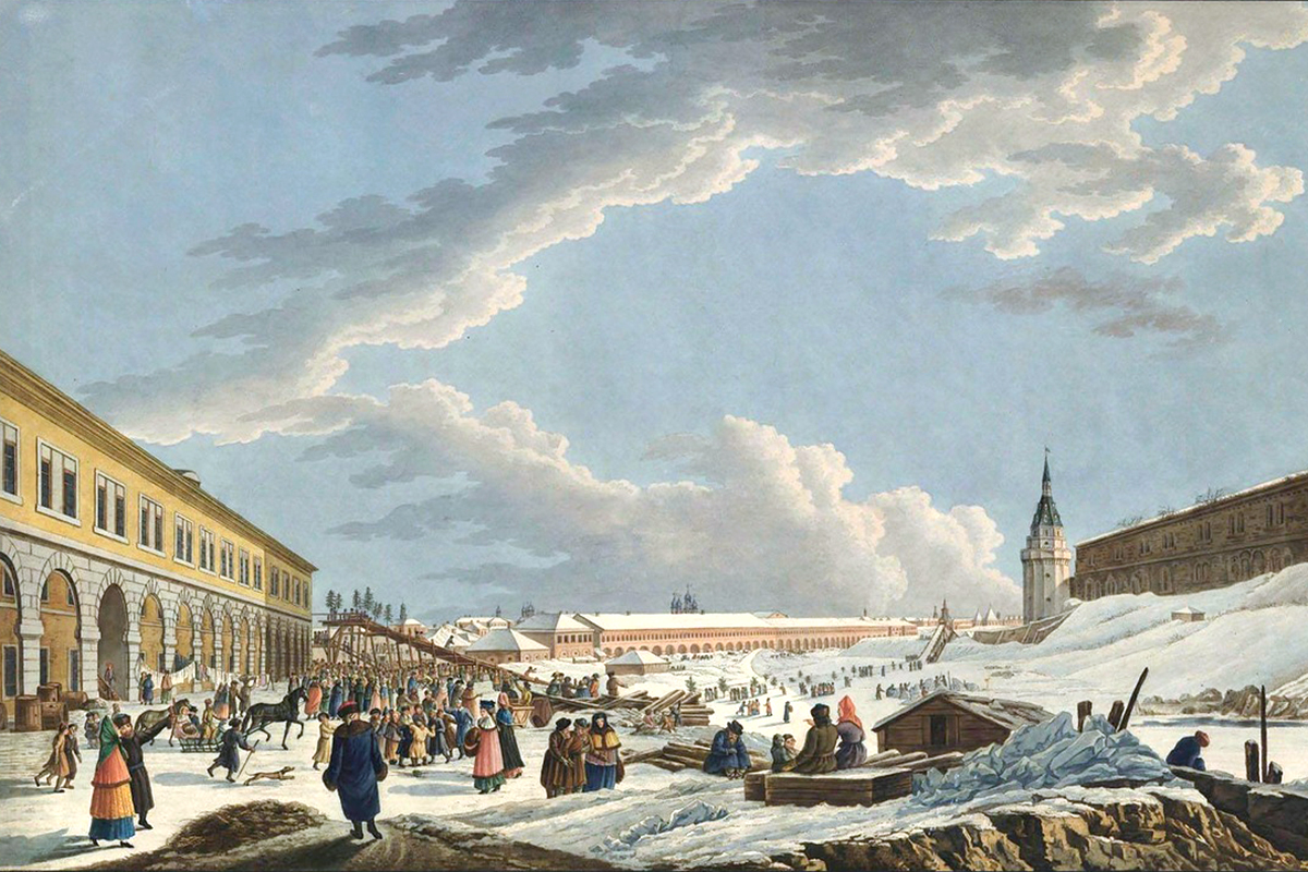 "Ice slopes near the Kremlin. Red Square's surroundings have changed a lot over time.  The brick walls of the Kremlin, which was built in 1485-1495, were whitewashed in the 18th century (as the walls of every kremlin in Russia were white — Kazan, Nizhny Novgorod, Rostov Veliky, etc.) and for a long time the Kremlin retained its white exterior. It ""blushed"" only in 1947 ahead of the 800th anniversary of the founding of Moscow."