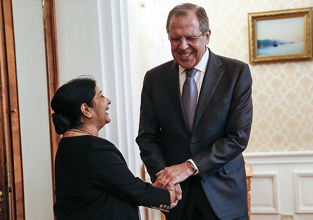India's Foreign Minister Sushma Swaraj (L) and Russia's Foreign Minister Sergei Lavrov hold bilateral talks as part of the 14th Russia-India-China (RIC) meeting of foreign ministers.