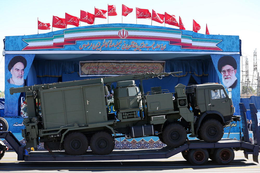 A long-range S-300 missile system is displayed by Iran's army during a parade marking National Army Day, outside Tehran, April 2016.
