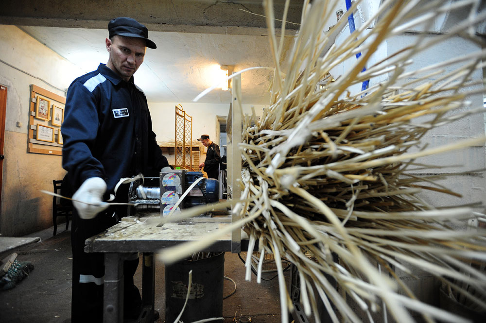Prisoners make woven furniture at Penal Colony No. 10, Yekaterinburg.