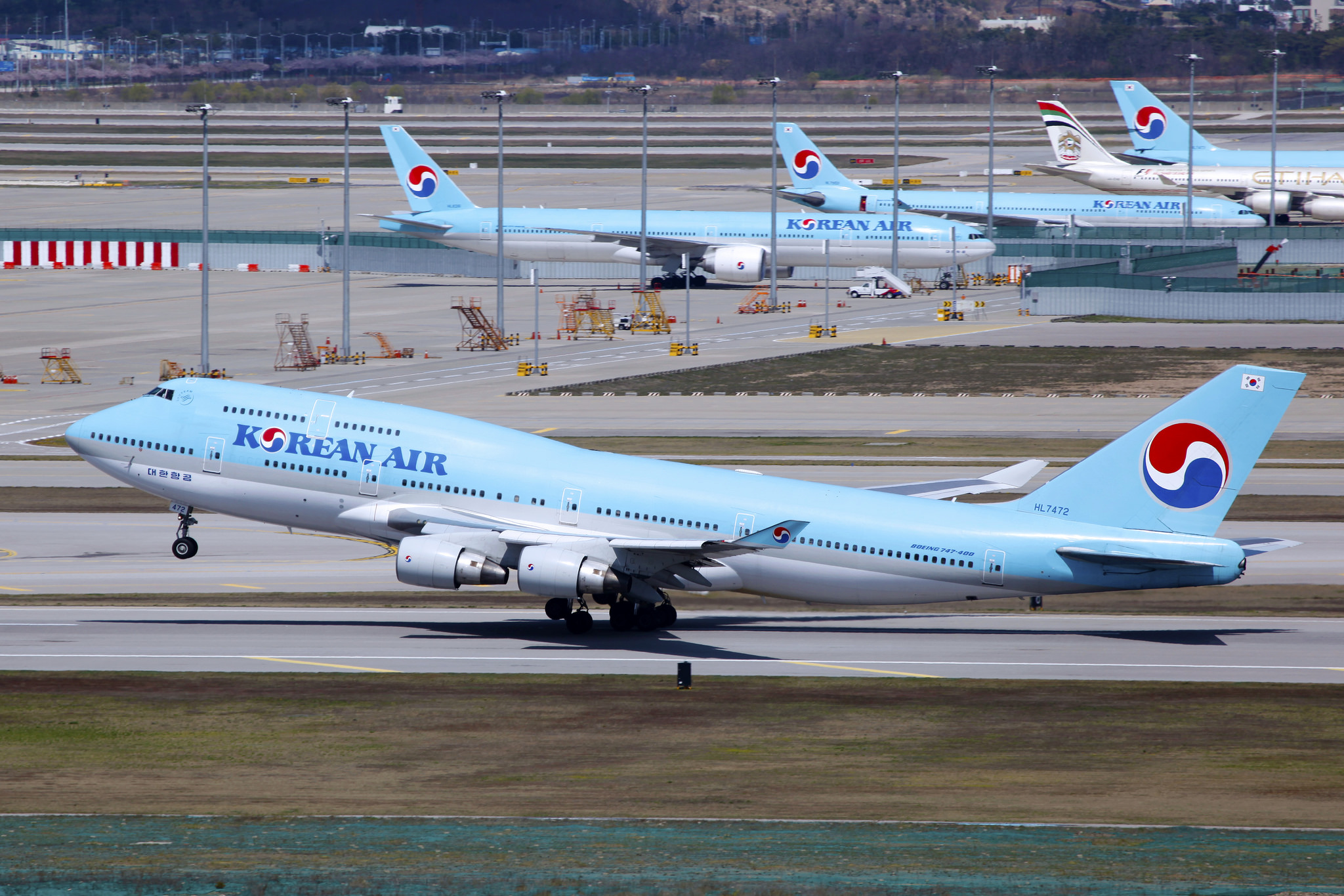 Korean Air planes at the Incheon International Airport.