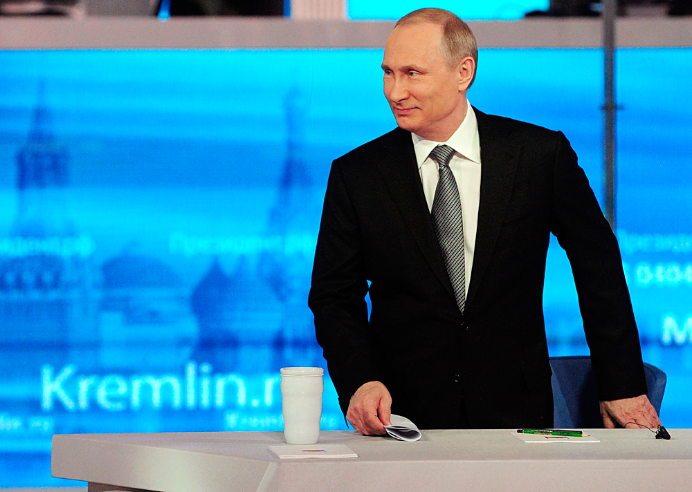Russian President Vladimir Putin arrives at his annual call-in show in Moscow, Russia, April 14, 2016.