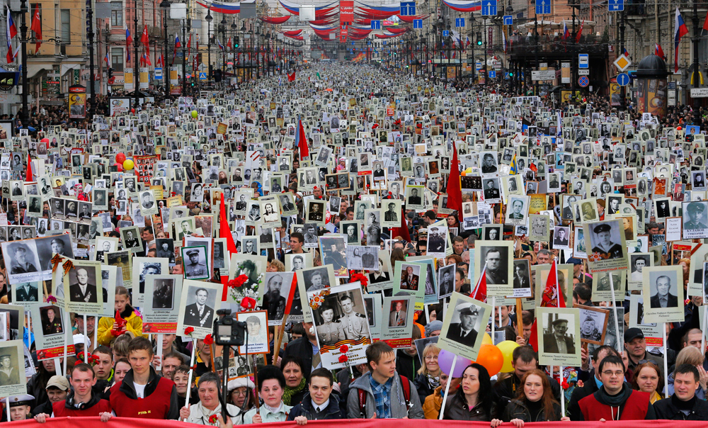The march of the Immortal Regiment in Moscow, 2015.