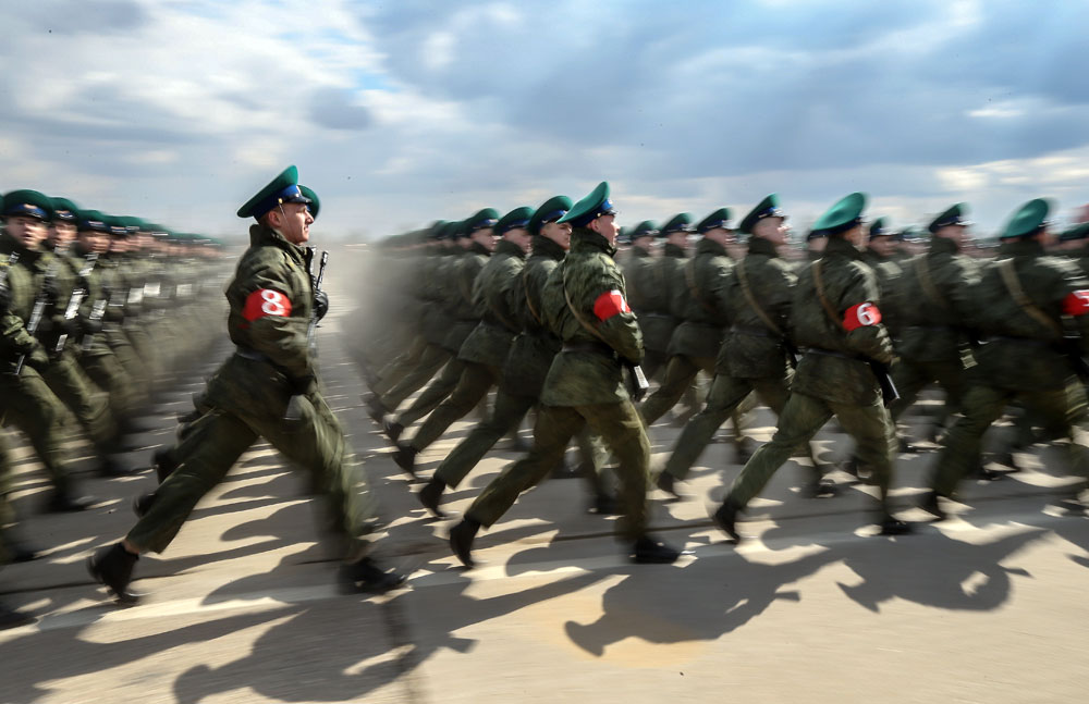 MOSCOW REGION, RUSSIA. Russian servicemen march in formation at Alabino range as they prepare for the upcoming 9 May military parade marking the 71st anniversary of victory over Nazi Germany in World War II