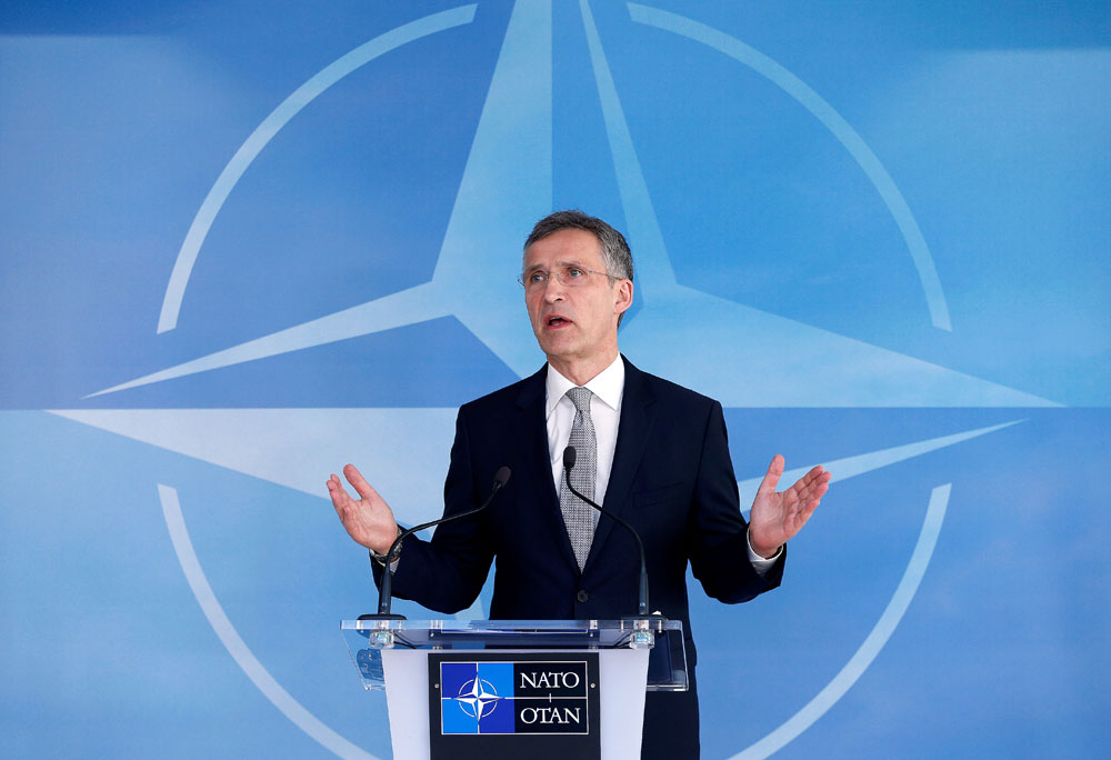 NATO Secretary General Jens Stoltenberg speaks after a NATO-Russia Council at the Alliance's headquarters in Brussels, Belgium