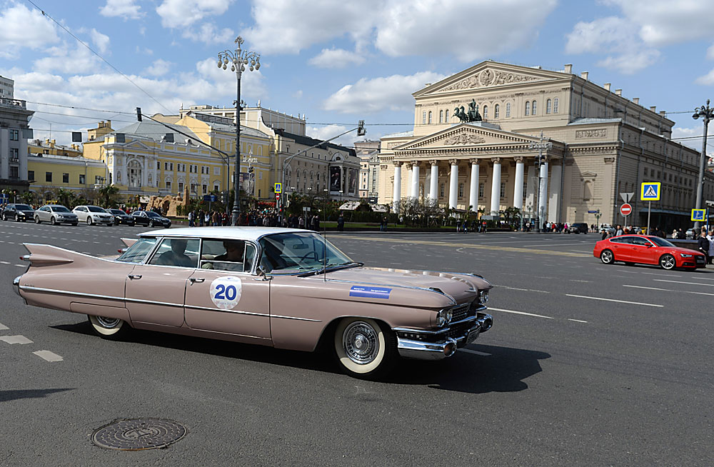 Rally featuring classical cars in Moscow