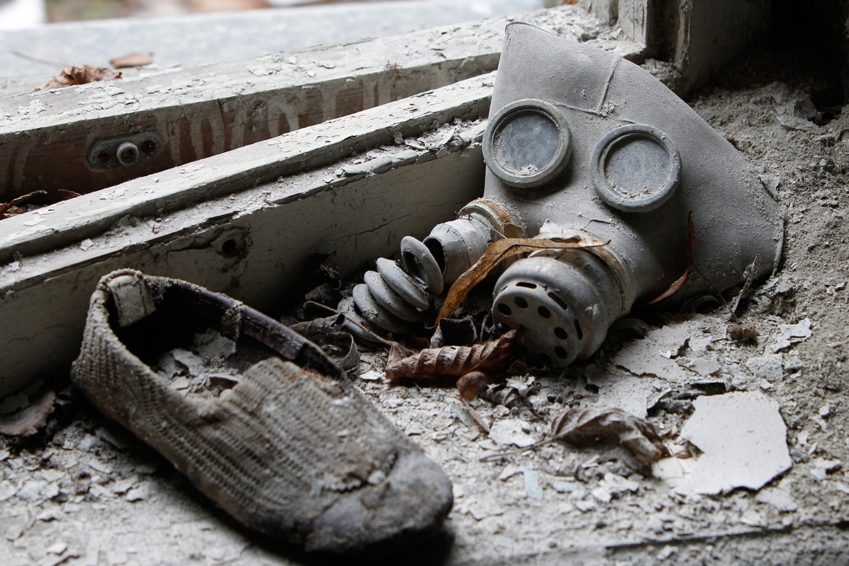 A child's gas mask and shoe can be seen at a kindergarten in Prypiat. On April 26, 1886 children went to school as usual.