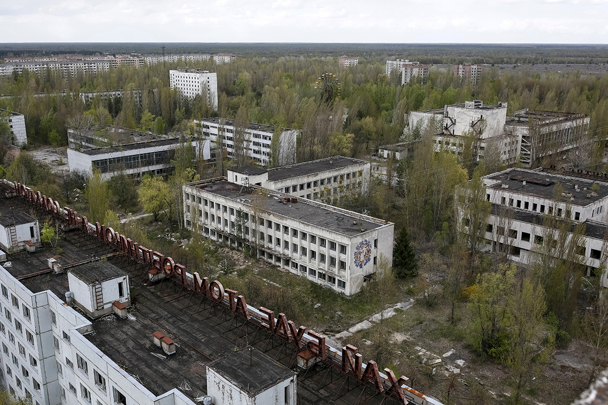 The evacuation began next morning. Most of the people left their belongings at home, thinking that they would return soon. //A view of Pripyat.