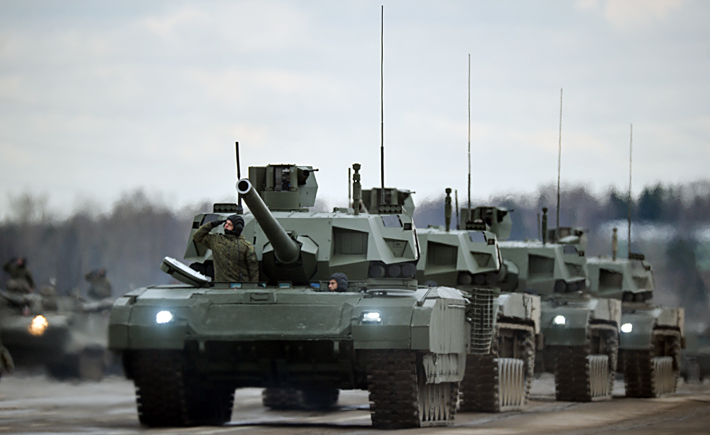 "Tanks ""Armata"" of the mechanized columns of the Central Military District's Moscow Garrison during the rehearsal of the military parade to mark the 71st Anniversary of the Victory in the Great Patriotic War, at the Alabino training ground, Moscow Region."