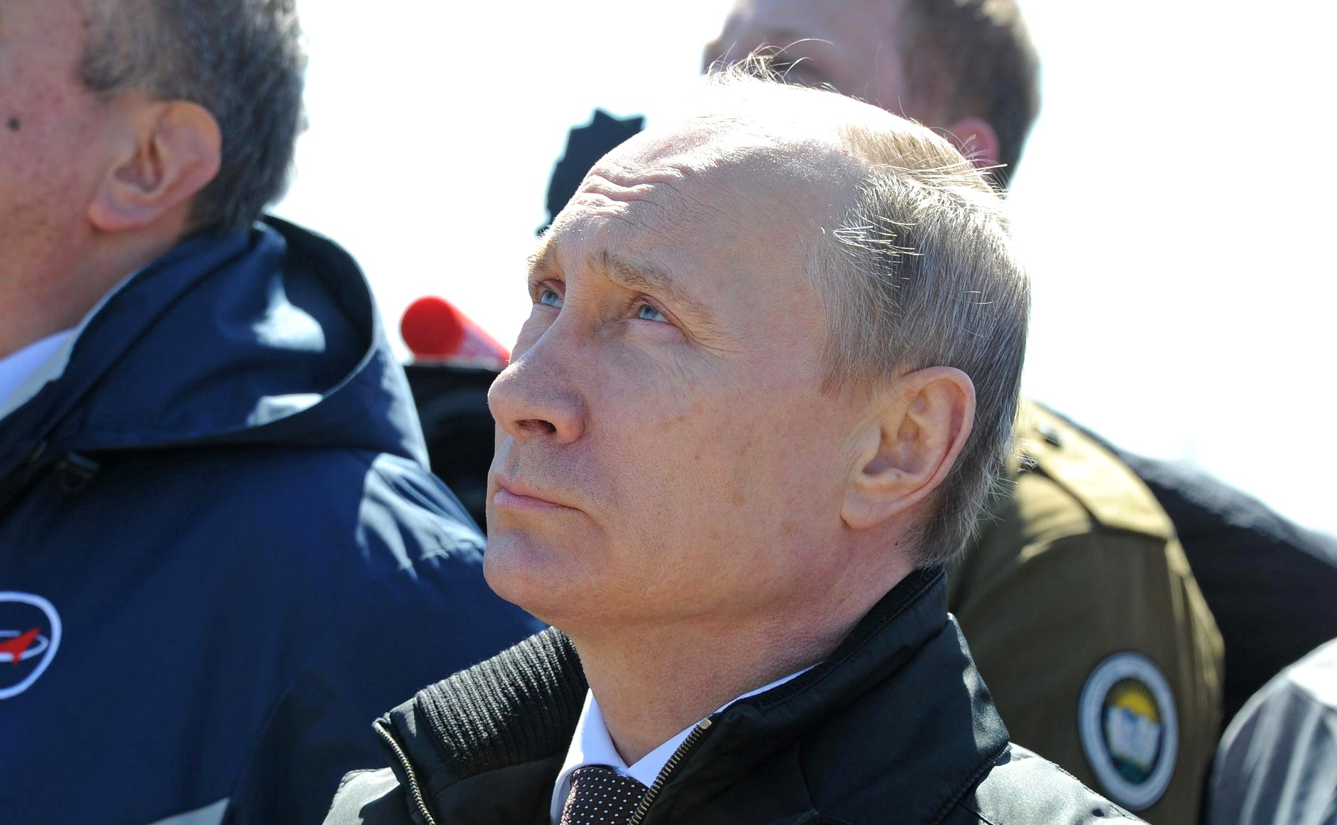 Russian President Vladimir Putuin watches the first launch from the Vostochny Cosmodrome.