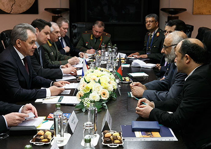Russian and Afghanistan defense ministers met in Moscow, April 27.