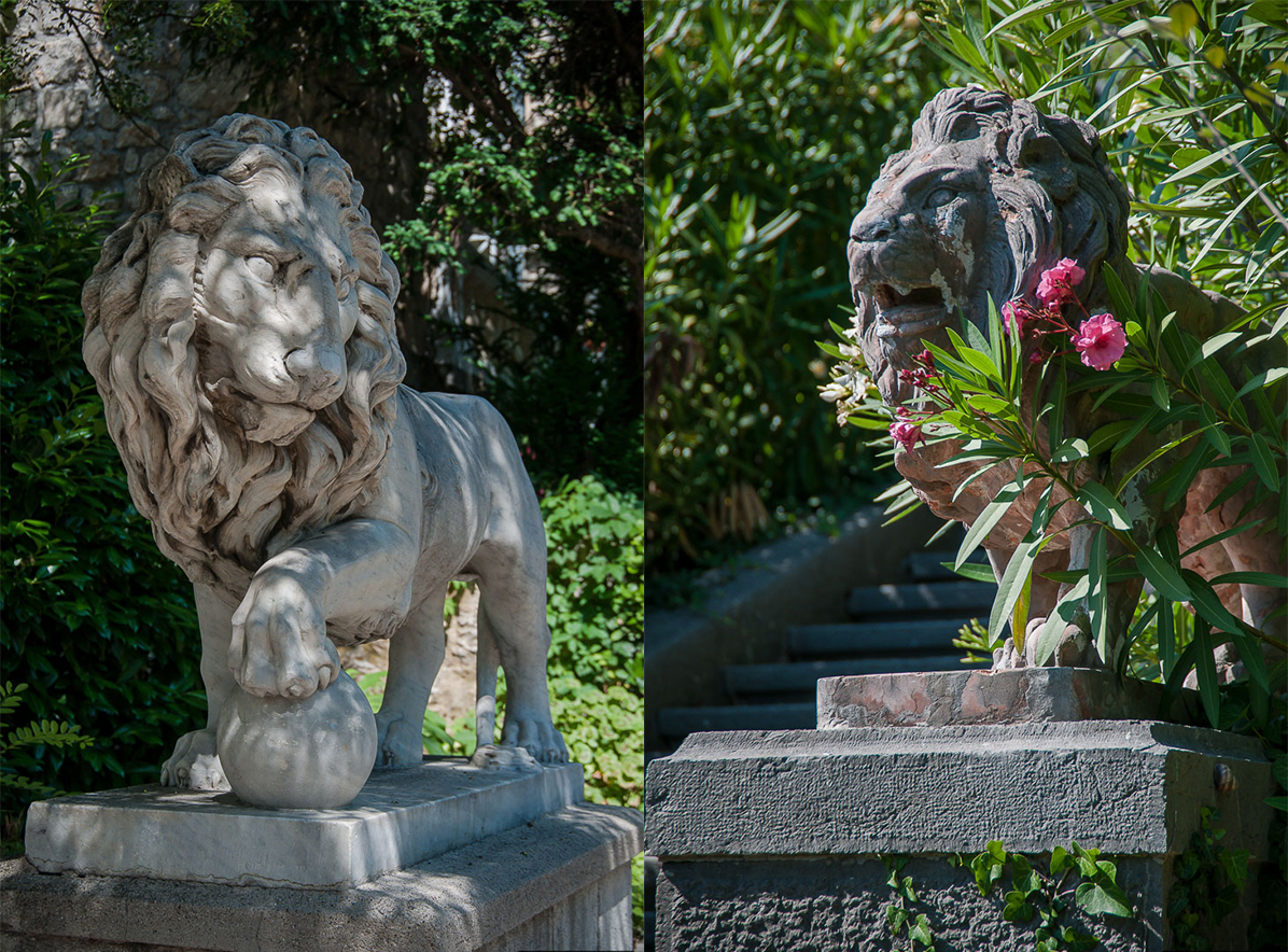 Sculptures of lions, marble mythological characters of ancient Greece were brought from Venice.