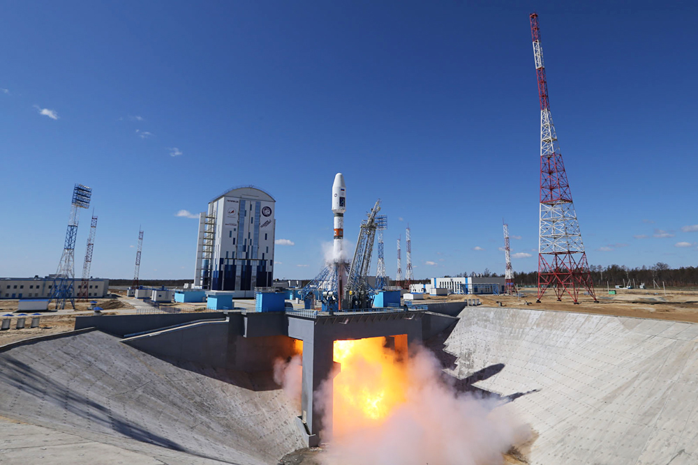 The launch of the Soyuz-2.1a carrier rocket with the three Russian satellites – Lomonosov, Aist-2D and SamSat-218 at the Vostochny Cosmodrome.