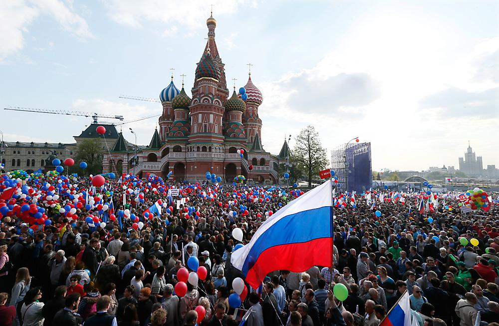 Shod ob prazniku dela v Moskvi, 1. maj 2014.