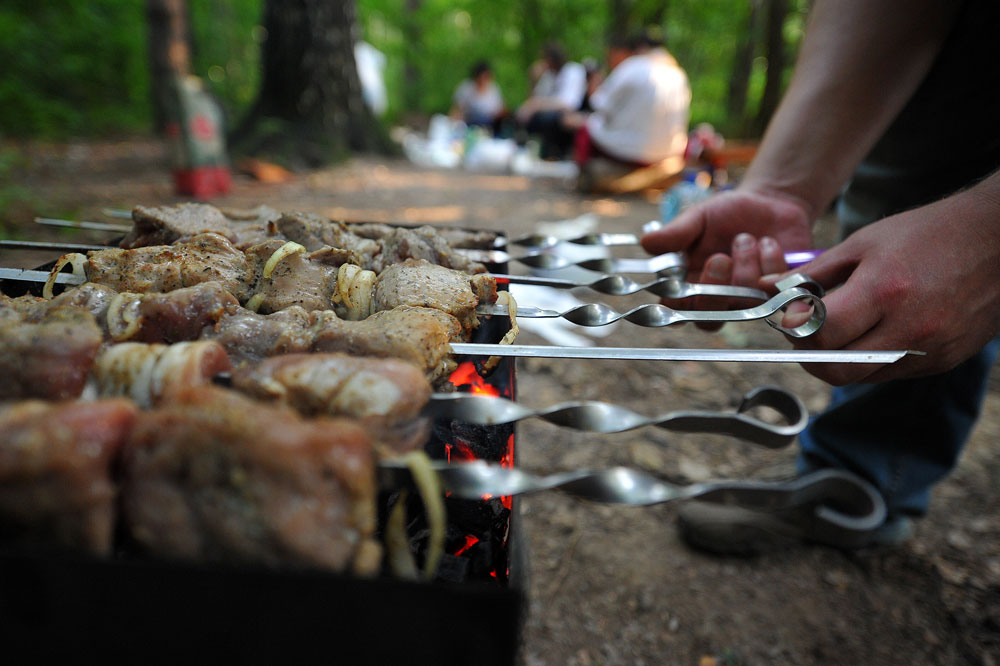 Kebabs in Moscow parks
