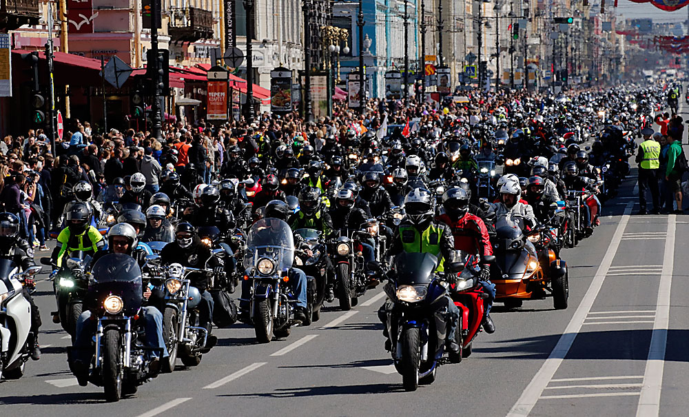 Russian bikers drive along the central Nevsky avenue in St. Petersburg, marking the beginning of their annual festival, Russia, 02 May 2016. After crossing the city, they later met up again to enjoy their day out and compete against each other in various 'biker' activities.