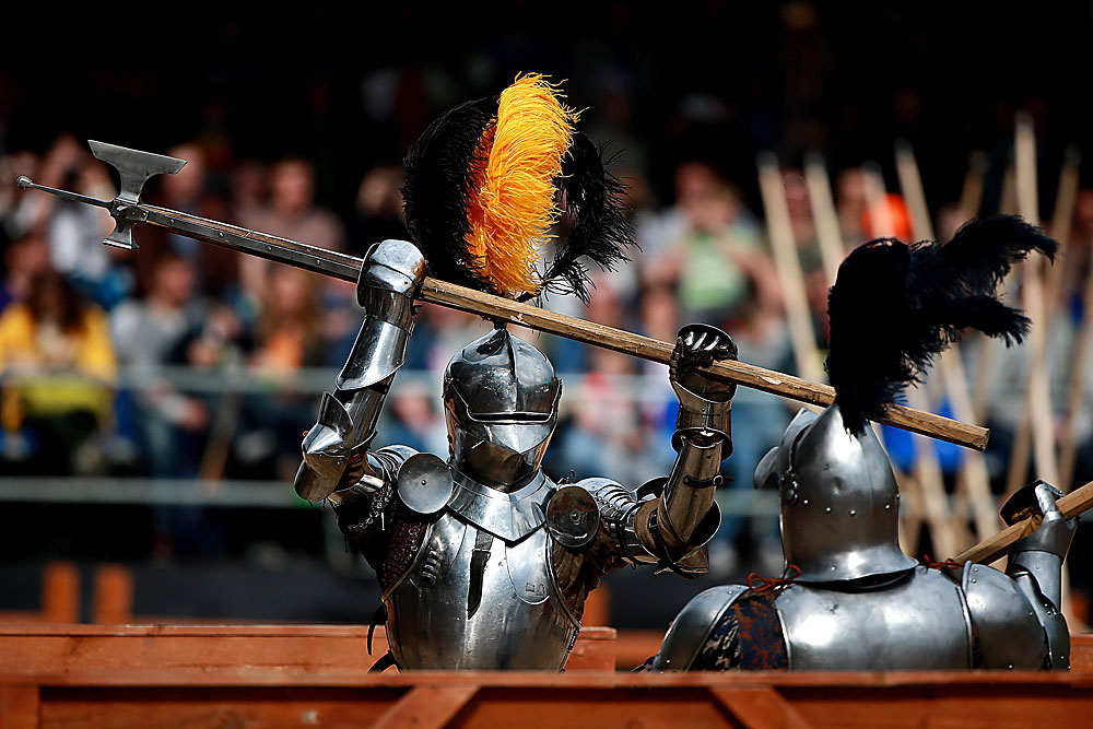 "MOSCOW, RUSSIA.  Participants in the international knight festival ""Tournament of St. George"" at the Kolomenskoye museum-reserve."