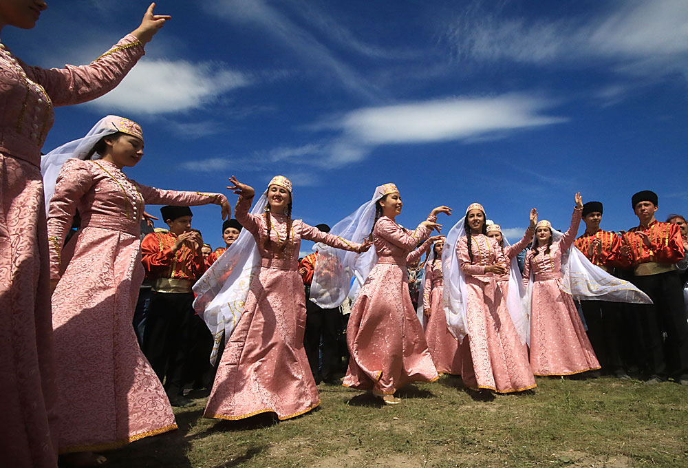 CRIMEA, RUSSIA. MAY 3, 2016. People attend celebrations of Hidirellez, the Crimean Tatar holiday of spring, near the city of Bakhchysaray.