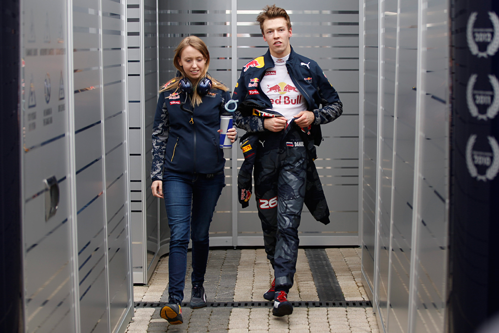 Red Bull driver Daniil Kvyat of Russia walks in the pit during the first free practice at the 'Sochi Autodrom' Formula One circuit , in Sochi, April 29, 2016.