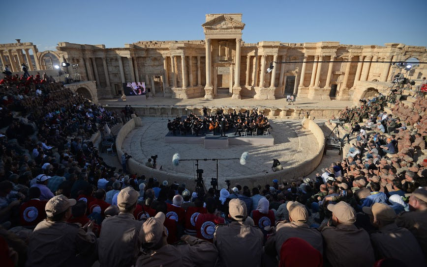 The Symphony Orchestra of the Mariinsky Theater gives a concert at the amphitheatre in Syria's Palmyra, May 5.