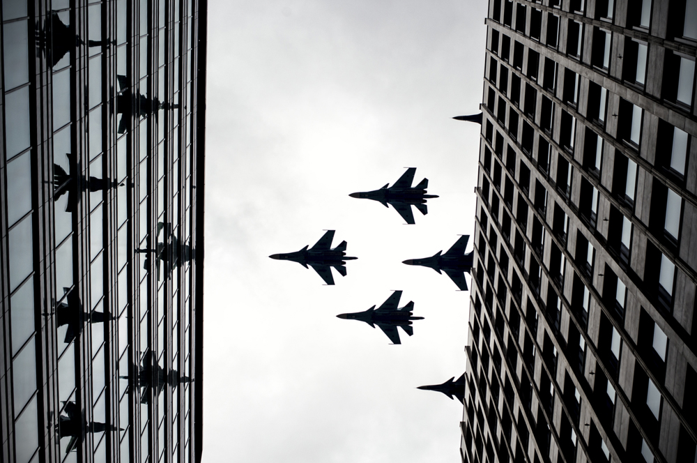 Su-34 fighter bombers and Su-30SM fighters during a rehearsal for the Victory Day parade.