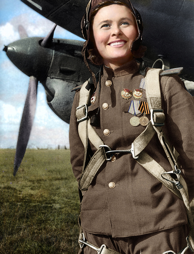 "Maria Dolina (1922–2010) was a Soviet pilot and acting squadron commander of the 125th ""Marina M. Raskova"" Borisov Guards Dive Bomber Regiment. She performed 72 sorties in a Pe-2 aircraft, dropping 45,000 kg bombs. In six aerial combats Maria's crew shot down 3 enemy fighters. On August 18, 1945, Dolina was awarded the title of Hero of the Soviet Union."