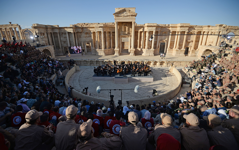 A concert by the symphony orchestra of the St. Petersburg Mariinsky Theater conducted by People's Artist of Russia Valery Gergiev at the Roman amphitheater of Palmyra, Syria liberated from the Islamic State terrorists.