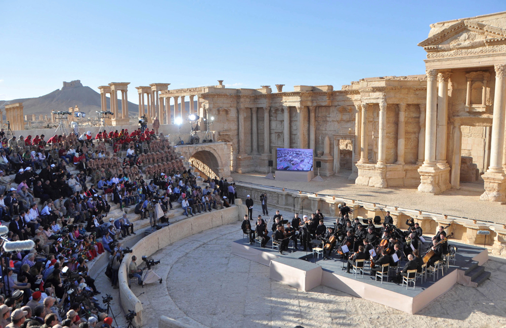 Russia's Mariinsky Theatre performs at the amphitheatre of the Syrian city of Palmyra.