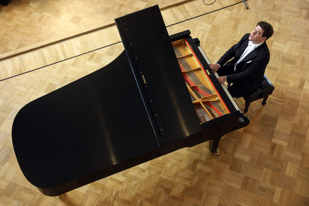Pianist Denis Matsuyev performs in Rachmaninoff Hall of the Moscow State Tchaikovsky Concervatory.