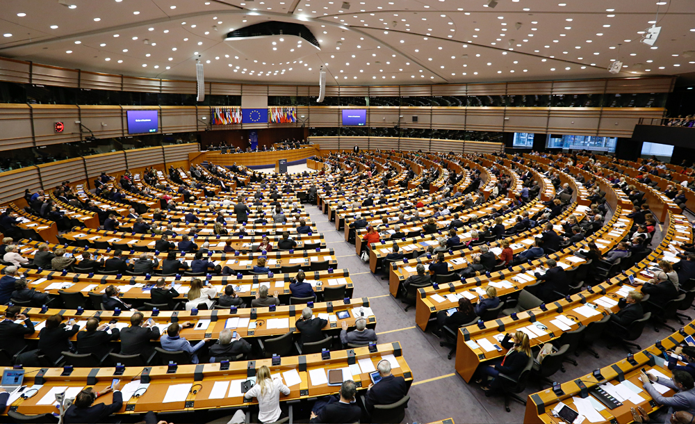 The European Parliament's committee of foreign affairs endorsed a report on counteraction to propaganda on Oct. 10. Photo: A general view for the plenary session at the European Parliament in Brussels, Belgium.