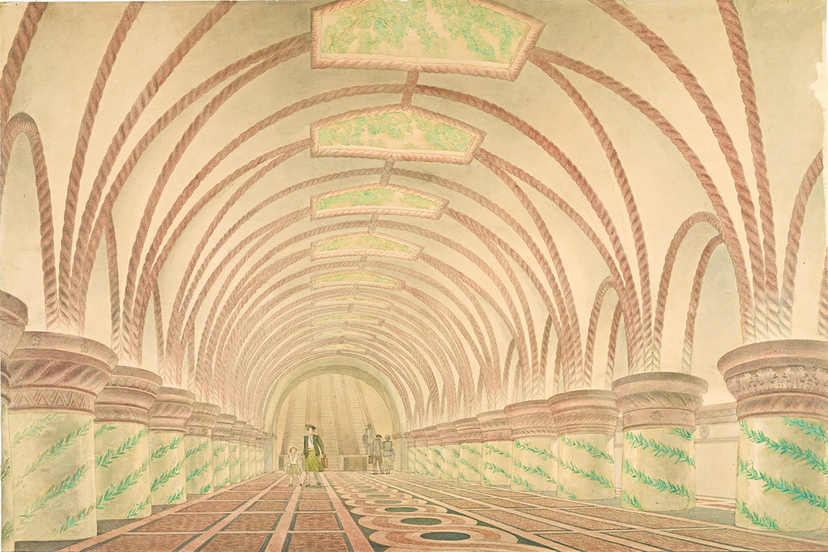 "Not all of the projects presented here were put into practice. Some of them remained quite literally on the drawing board, such as this draft of Kievskaya Station by Georgyi Golts. The ivy-colored columns were ultimately replaced by poles with mosaic panels. / G. Golz. Metro Station Project ""Kiyevskaya"". 1944-1945."