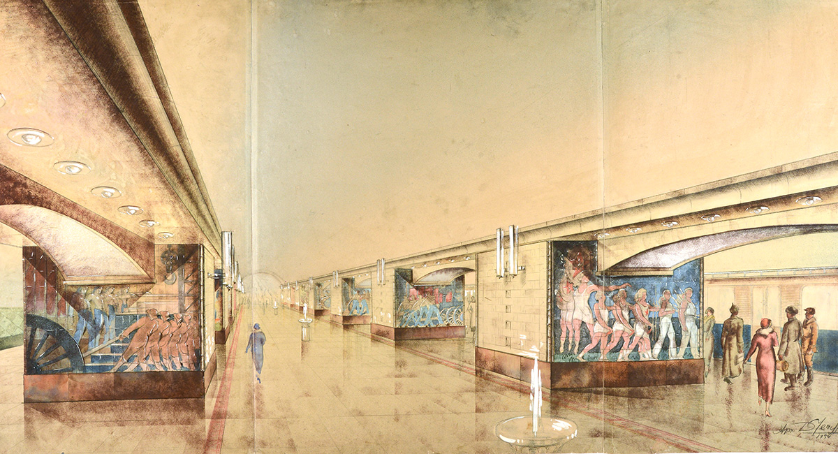 "The exhibited works are of interest not only as architectural plans for Metro stations, but as an important example of Soviet draftsmanship. / D. Chechulin. Metro Station Project ""Okhotny Ryad"". 1934."