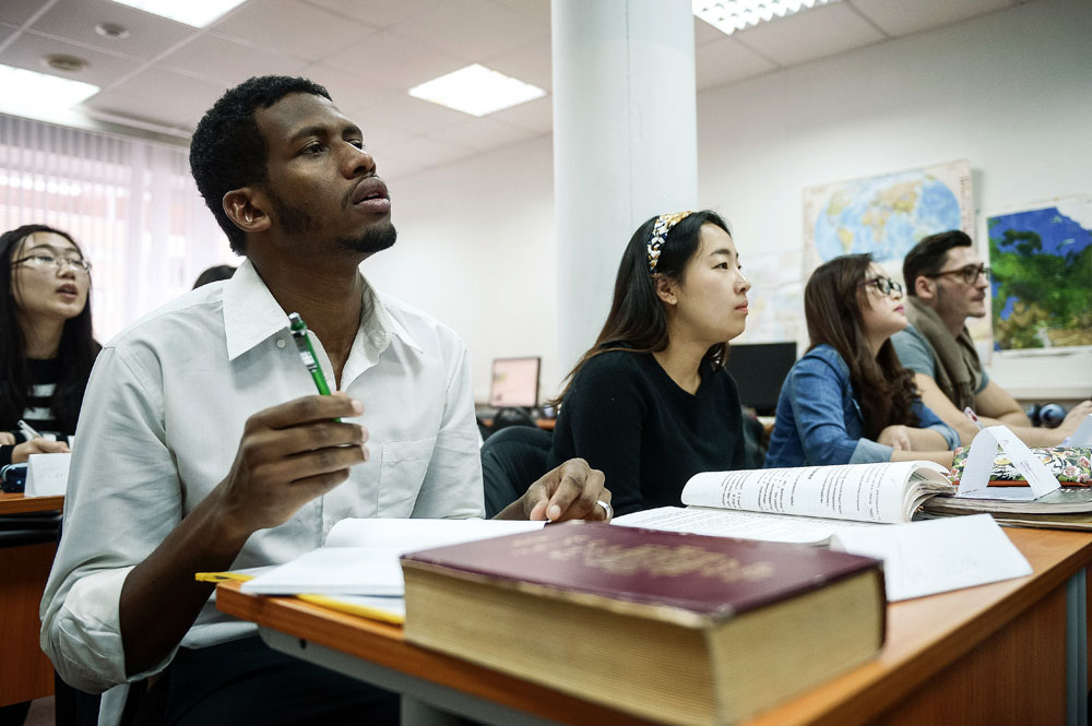 Students attending the Russian language lesson at the Russian Friendship University.