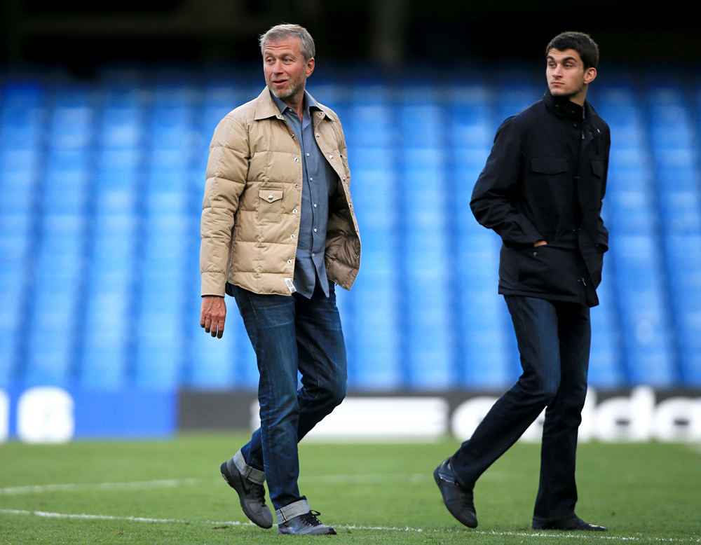 Chelsea owner Roman Abramovich with son Arkadiy after the Barclays Premier League match at Stamford Bridge, London.