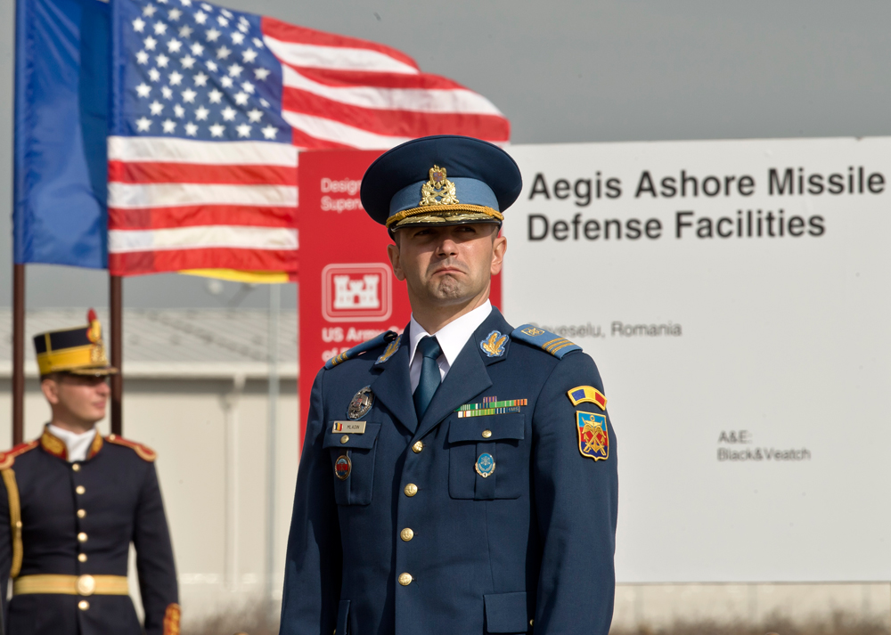 A Romanian officer before the official ground breaking ceremony of an U.S. Aegis Ashore missile defense base in Deveselu, Oct. 28, 2013.