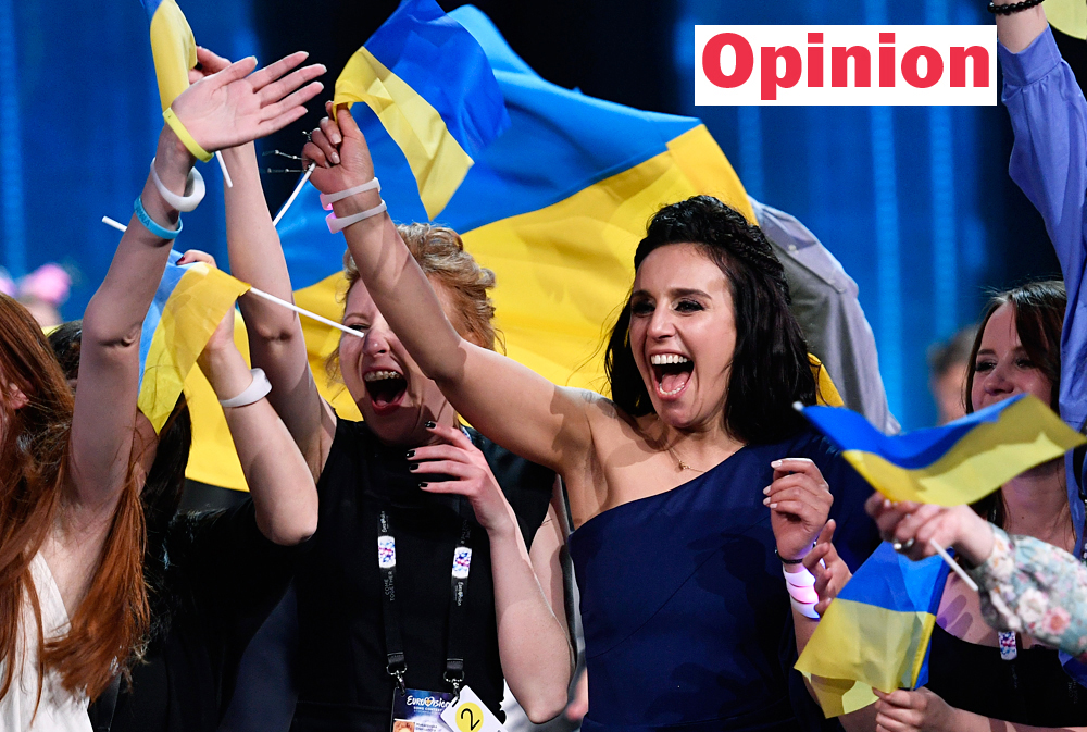 Ukraine's Jamala celebrates as she wins the Eurovision Song Contest final with her song '1944' in Stockholm, Sweden, May 15, 2016.