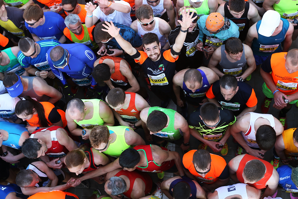 Kazan Marathon 2016. Россия. Казань. 15 мая 2016. Участники Казанского марафона-2016 на старте. В марафоне приняли участие около 9 тысяч человек, среди которых представители 38 государств.