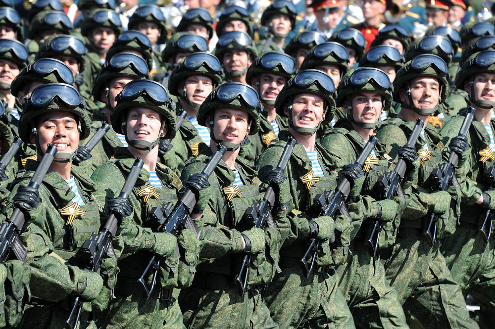 Parade crew members at a military parade to mark the 71st anniversary of Victory in the 1941-1945 Great Patriotic War, on Moscow's Red Square, 2015.
